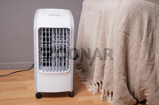 portable air cooler and humidifier in living room