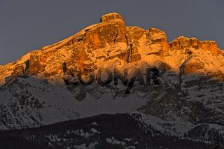 Abendrot am Piz de Lavarela, Fanesgruppe, Alta Badia, Dolomiten, Südtirol, Italie