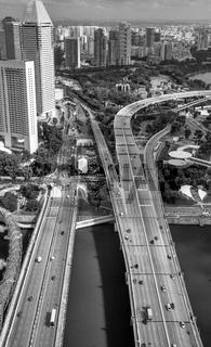 Aerial skyline of downtown skyscrapers and major road intersections of Singapore