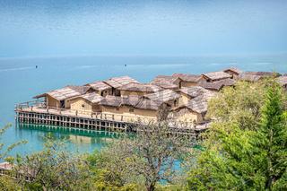 Bay of Bones, water museum, Lake Ohrid, Macedonia