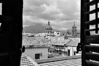 Old town of Palermo through the open window