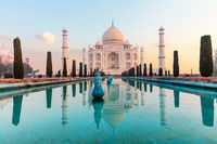India's famous Taj Mahal mausoleum, peaceful view, Agra