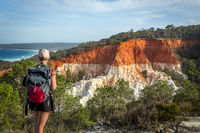 Views of the red and white rock formations in Ben Boyd National Park