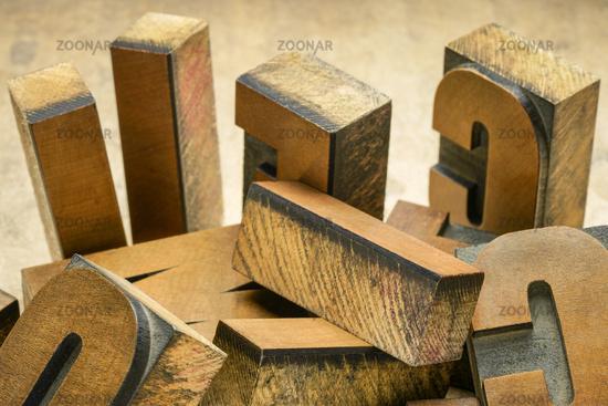 vintage letterpress wood type printing blocks