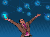 Black businessman and global satellite Internet