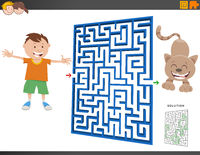 maze game with cartoon boy and kitten