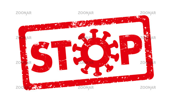 A red stamp on a white background - Stop