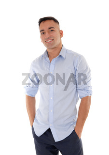 Young man standing relaxed in the studio