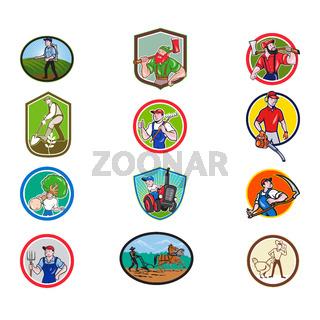 Farmer Gardener Cartoon Mascot Collection Set