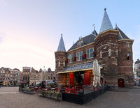 The famous gate house landmark now resturant Cafe in de Waag, Amsterdam, Netherlands.