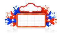 Marquee board announcement in the colors of the national US flag. Vector