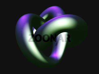 3D metallic knot isolated on black background.