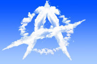 Anarchy sign isolated white cloud on blue sky view