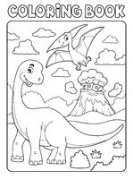 Coloring book dinosaur subject image 8