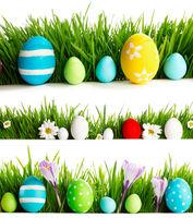 Fresh spring Easter borders on white