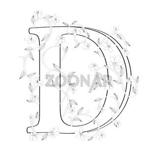 Letter D floral sketch