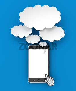 Smartphone and thought bubbles with copyspace, 3d render