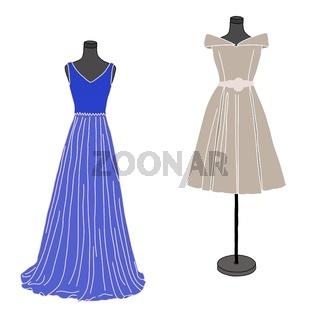 Fashion illustration: zwei Schneiderpuppen mit Kleidern
