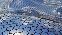 Futuristic wavy chrome surface hexagon sky reflection realistic 3D Rendering