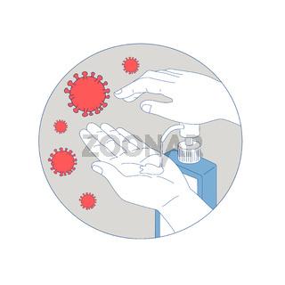 Coronavirus Hand Sanitizer Monoline Circle