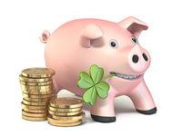 Piggy bank with lucky clover and golden coin 3D