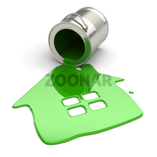 Spilt paint and house symbol. Paintig your home.