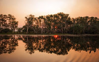 Twilight sunset at the swamp at the outback in Northern Australia – wallpaper