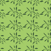 A hand-drawn pattern of leaves and flowers.