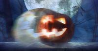 Halloween pumpkin in forest