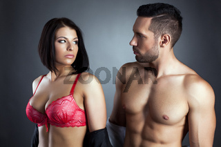Image of young sexy partners looking at each other