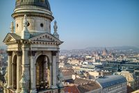 Aerial view of bell tower of St. Stephen's Basilica in Budapest, Hungary.