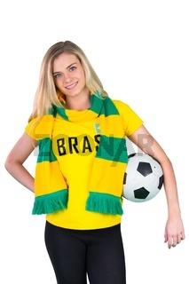 Pretty football fan in brasil tshirt