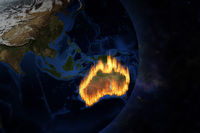 View of Australia from space with terrible fire