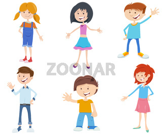 cartoon kids ant teen characters set