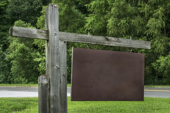 blank park entrance or trailhead sign