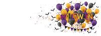 Halloween Text Balloons Bats Header