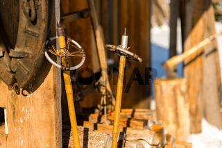 Old wooden ski poles snow winter cottage