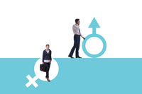 Woman sex discrimination concept at workplace
