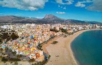 Villajoyosa townscape aerial view. Spain