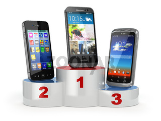 Choosing the best cellphone or comparison mobile phones.  Smartphones on the podium.
