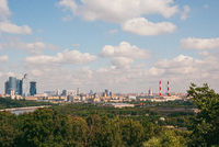 A long aerial panorama of Moscow with the Moscow city complex under construction on the left and the Luzhniki stadium on the right. 2009 year