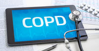 The word COPD on the display of a tablet