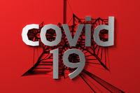 covid 19 metal steel lettering of three dimensional letters and numbers against a cracking red wall. 3d illustration