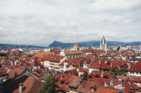 Annecy city, top view. Tile roofs, Cathedral