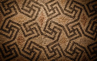 Swastika symbol in ancient Celtic mosaic decoration. Design for an old style background.