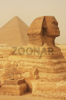 The Sphinx and Great Pyramid of Khufu in a sand storm, Cairo