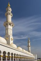 The 2 minarets of Sheikh Zayed Grand Mosque from the outer
