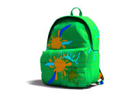 Green school bag backpack with blue spots on the left view 3d render on white background with shadow