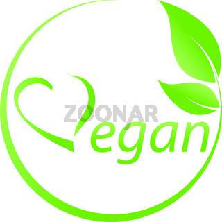 Vegetarisches Symbol, Blättern, Vegan, Herz, Logo