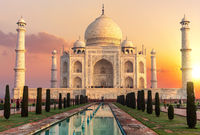 Taj Mahal at sunset, beautiful scenery of India